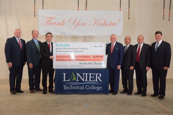 Kubota Manufacturing of America, Kubota Industrial Equipment Announce $1 Million Donation to Lanier Technical College Foundation