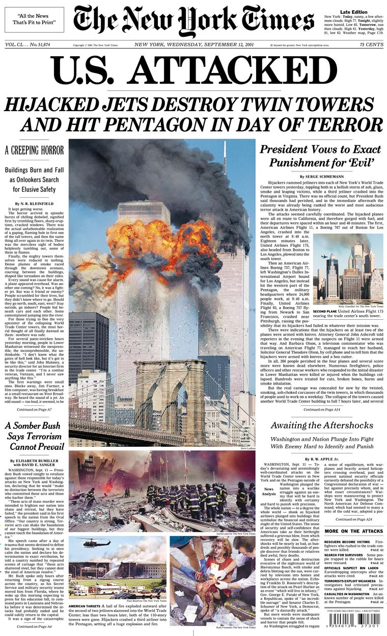 New York Times 9/11 Headline